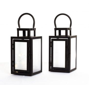 Lanternes noires avec lumière del décorations de table