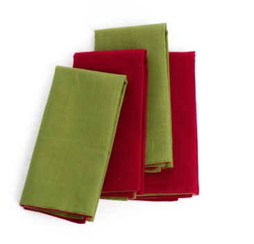 Reversible table napkins in burgundy and khaki
