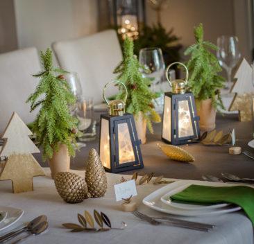 Set de table de décoration de noël or pur